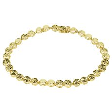 "14K Round Starburst Textured Link Chain Tennis Bracelet 7.5"" Yellow Gold  [QPQX]"