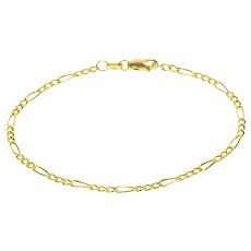 "14K Loose Figaro Link Chain Bracelet 8"" Yellow Gold  [QPQX]"