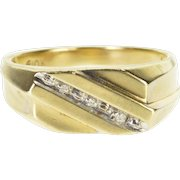 10K Diamond Inset Grooved Channel Squared Band Ring Size 9 Yellow Gold
