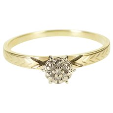 10K Diamond Inset Round Cluster Peg Head Engagement Ring Size 6 Yellow Gold [QWXP]