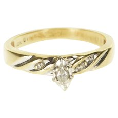 10K Marquise Diamond Channel Accent Engagement Ring Size 6.5 Yellow Gold [QWXP]