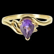 10K Amethyst Diamond Accented Pear Cut Bypass Ring Size 5.75 Yellow Gold [QWXP]