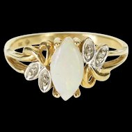 10K Marquise Syn. Opal Cabochon Diamond Accent Bypass Ring Size 6.75 Yellow Gold [QWXP]