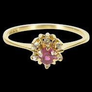 10K Retro Syn. Ruby Diamond Halo Round Cluster Ring Size 4.75 Yellow Gold [QWXP]