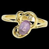 14K Oval Amethyst Diamond Accented Wavy Bypass Ring Size 5.25 Yellow Gold [QWXP]