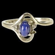 10K Oval Star Syn. Sapphire Diamond Accented Bypass Ring Size 5.5 White Gold [QWXP]