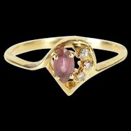 10K Marquise Syn. Ruby Diamond Accented Pointed Oval Ring Size 7.25 Yellow Gold [QWXP]