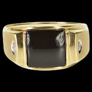 10K Black Onyx Square Diamond Accented Men's Ring Size 10 Yellow Gold [QWXP]