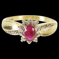 10K Oval Ruby Diamond Accented Textured Halo Ring Size 6.5 Yellow Gold [QWXP]
