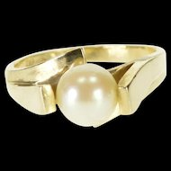 10K 7.2mm Pearl Illusion Pressure Statement Ring Size 6.5 Yellow Gold [QWXP]