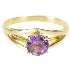 14K Amethyst Pointed Chevron Design Engagement Ring Size 4.75 Yellow Gold [QWXP]