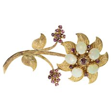 14K Opal Syn. Ruby Encrusted Ornate Textured 3D Flower Pin/Brooch Yellow Gold  [QWXW]