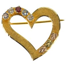 10K Textured Curvy Heart Spinel Heart Leaf Accent Pin/Brooch Yellow Gold  [QWXW]