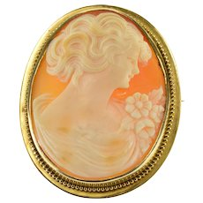 10K Oval Carved Shell Ornate Cameo Ball Trim Pin/Brooch Yellow Gold  [QWXW]