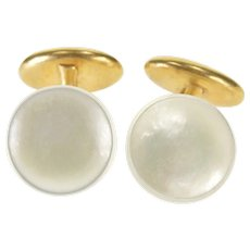 14K Round Mother Of Pearl Concave Overlay Fancy Cuff Links Yellow Gold  [QRXC]