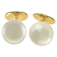 14K Round Mother Of Pearl Concave Overlay Fancy Cuff Links Yellow Gold  [QWXW]