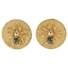 14K Cats Eye Inset Spider Round Textured Ornate Cuff Links Yellow Gold  [QRXC]