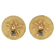 14K Cats Eye Inset Spider Round Textured Ornate Cuff Links Yellow Gold  [QWXW]