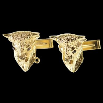 14K Bull Ox Bovine 3D Head Garnet Inset Eyes Cuff Links Yellow Gold  [QWXW]