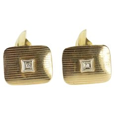 10K Diamond Inset Curved Pinstriped Rounded Square Cuff Links Yellow Gold  [QRXC]