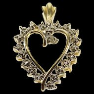 10K Diamond Inset Wavy Two Tone Heart Pendant Yellow Gold  [QRXC]