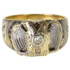 10K 32nd Degree Masonic Double Head Eagle Diamond Ring Size 9.5 Yellow Gold [QWXP]