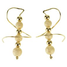 14K Two Textured Beaded Dangle Spiral Hook EarRings Yellow Gold  [QWXP]