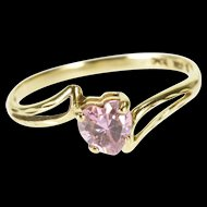 10K Pink Topaz Heart Cut Wavy Bypass Ring Size 6.5 Yellow Gold [QWXW]