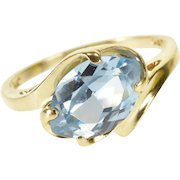 14K Blue Topaz Marquise Prong Set Wavy Bypass Ring Size 8 Yellow Gold