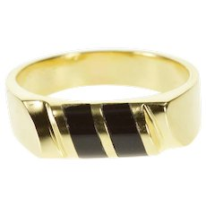 14K Black Onyx Diagonal Rounded Inlay Grooved Ring Size 7 Yellow Gold [QRXC]