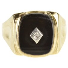 10K Rounded Black Onyx Diamond Overlay Men's Ring Size 11.5 Yellow Gold [QRXC]