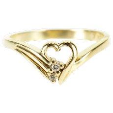 10K Diamond Inset Wavy Heart Freeform Chevron Ring Size 5.75 Yellow Gold