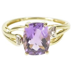 10K Faceted Cushion Cut Amethyst Diamond Accent Ring Size 8 Yellow Gold