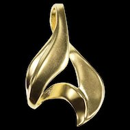 14K Abstract Curvy Wavy Pointed Loop Fin Pendant Yellow Gold  [QRXF]