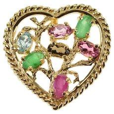 14K Emerald Ruby Pink Blue Topaz Smoky Quartz Heart Pendant Yellow Gold  [QWXW]