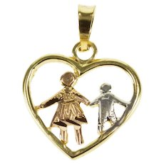 14K Three Tone Mother Son Child Heart Pendant Rose Gold  [QWXW]