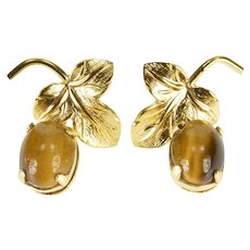 14K Oval Tiger's Eye Cabochon Dangle Leaf Design EarRings Yellow Gold  [QWXW]
