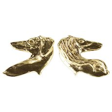 14K Artisan Style Dog Breed Profile Bust Post Back Earrings Yellow Gold  [QPQQ]