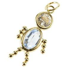 74b373dab 10K Birthstone Baby Blue White Glass September Charm/Pendant Yellow Gold  [QWXW]
