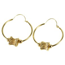 14K Concave Scalloped Beaded Round Tube Hoop Earrings Yellow Gold  [QPQQ]
