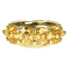 10K Marquise Citrine Inset Rounded Cluster Band Ring Size 6 Yellow Gold [QWXW]