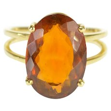 18K Oval Cut Prong Set Citrine Split Band Design Ring Size 4.75 Yellow Gold [QWXW]