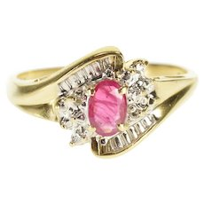14K Ruby Diamond Accented Textured Bypass Cluster Ring Size 7.5 Yellow Gold [QWXW]