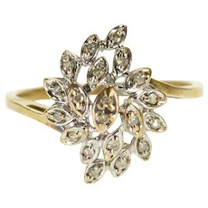 10K Diamond Encrusted Petal Floral Cluster Ring Size 6.5 White Gold [QWXW]