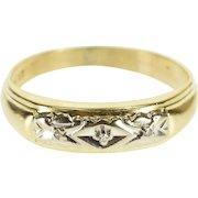 14K Retro Two Tone Diamond Inset Men's Band Ring Size 9 Yellow Gold [QPQX]