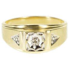 10K Diamond Inset Graduated Men's Wedding Band Ring Size 9.75 Yellow Gold [QWXW]