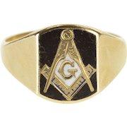 10K Enamel Masonic Compass and Square Symbol Ring Size 11.5 Yellow Gold [QPQX]
