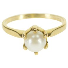 10K Pearl Curved Prong Alternative Engagement Ring Size 5.75 Yellow Gold [QRXF]