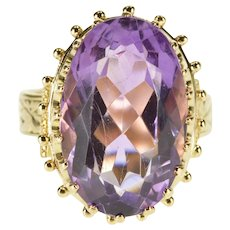 14K Oval Scalloped Prong Amethyst Granulated Trim Ring Size 10 Yellow Gold [QRXF]