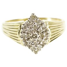10K Diamond Inset Encrusted Pointed Cluster Grooved Ring Size 6 Yellow Gold [QWXW]